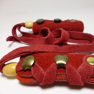 North Star Red Suede Mini Leather Hair Ties-#113